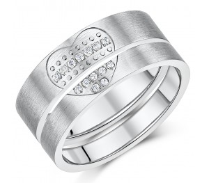 Titanium Lover's Heart Pair Couples Anniversary Promise Rings