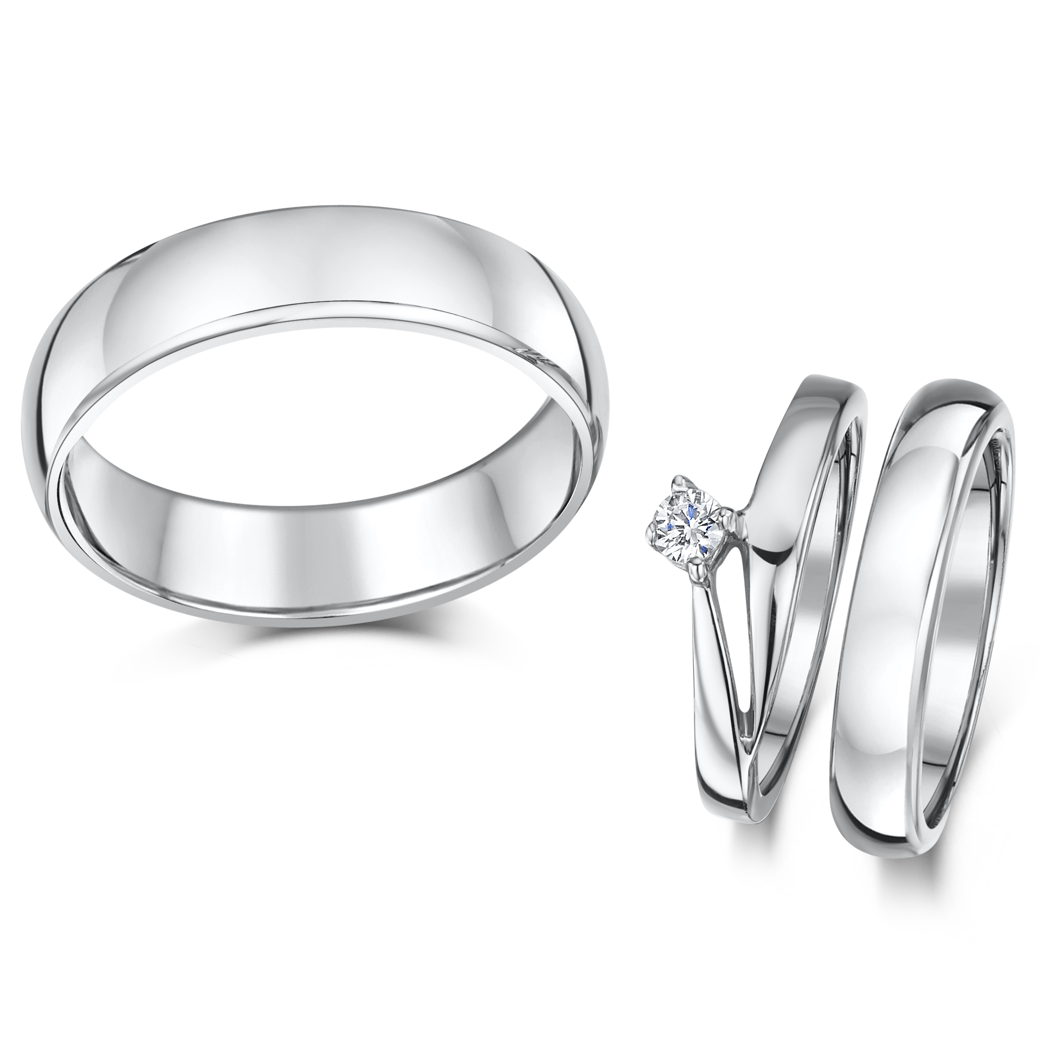 Cobalt Illusion Crossover Engagement His & Hers 4&6mm Rings