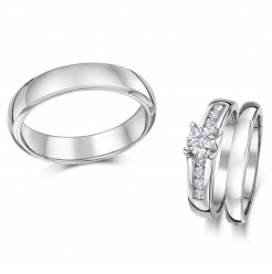 Cobalt Solitaire Engagement & His & Hers 3&5mm Wedding Rings