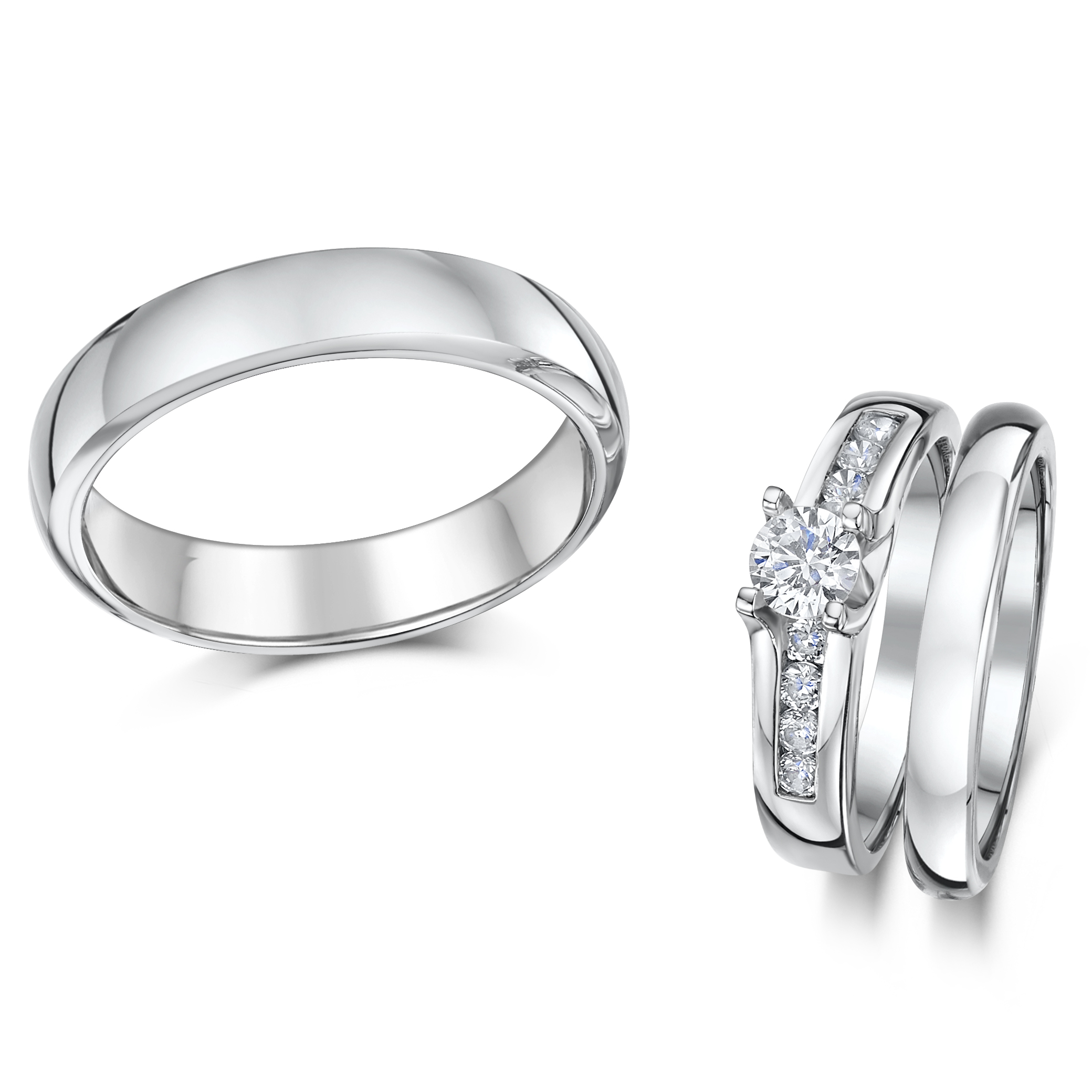 cobalt solitaire engagement his hers 35mm wedding rings - Cobalt Wedding Rings