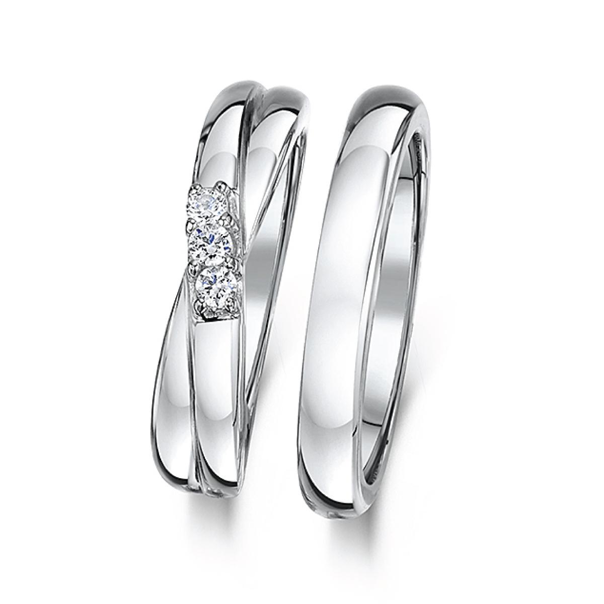 Cobalt Grooved 4mm Engagement & 3mm Bridal Set Rings