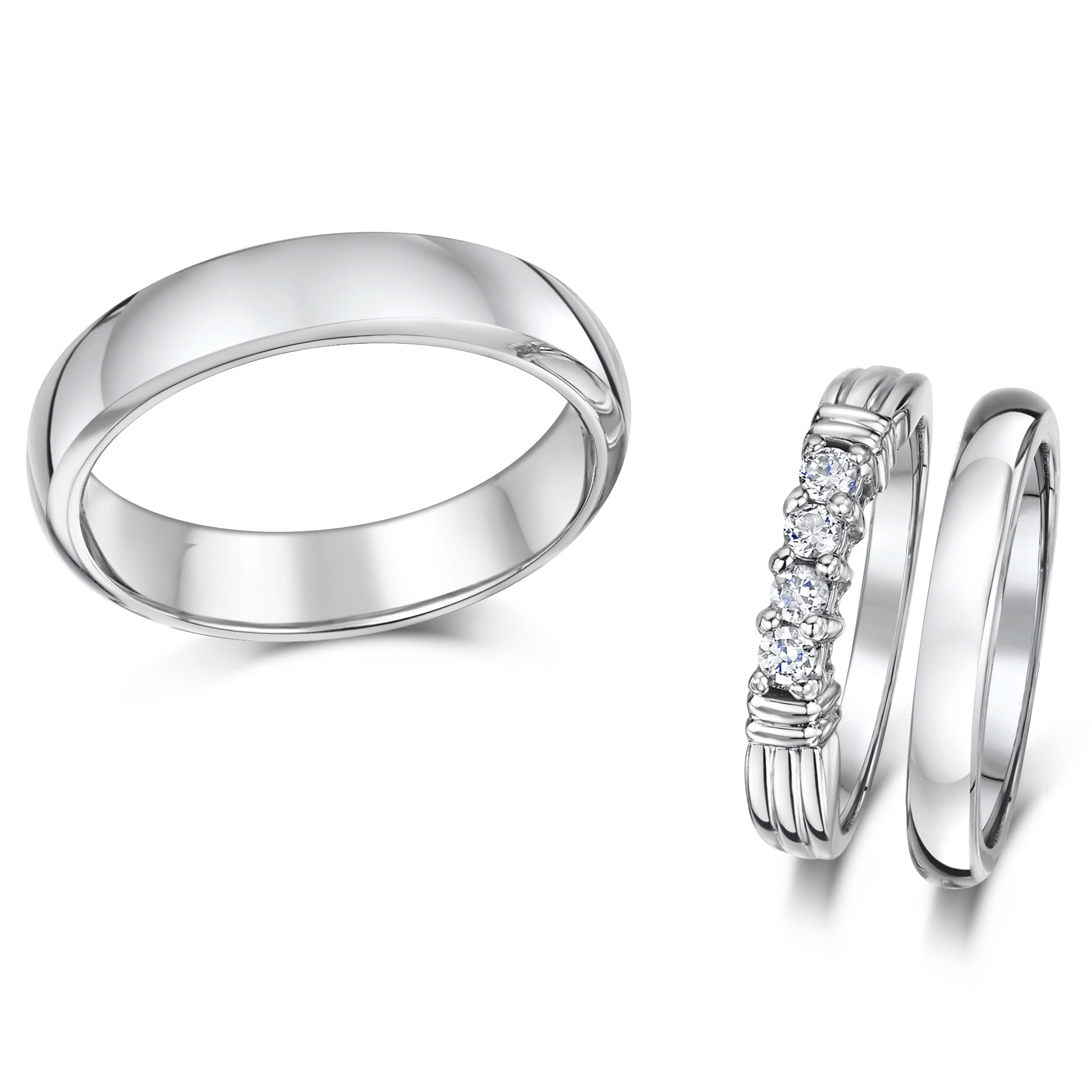 Cobalt 3mm Engagement Eternity & 3&5mm His Hers Wedding Rings