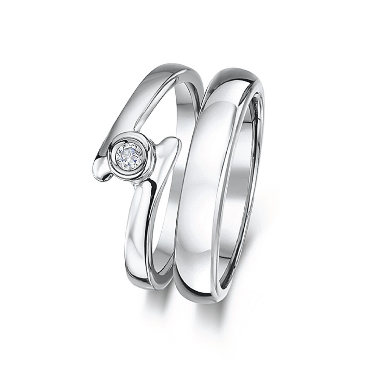 Cobalt Illusion set crossover engagement & 3mm Bridal Set Ring