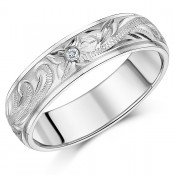 6mm Titanium Ring CZ Stone Hand Engraved Wedding Ring Band