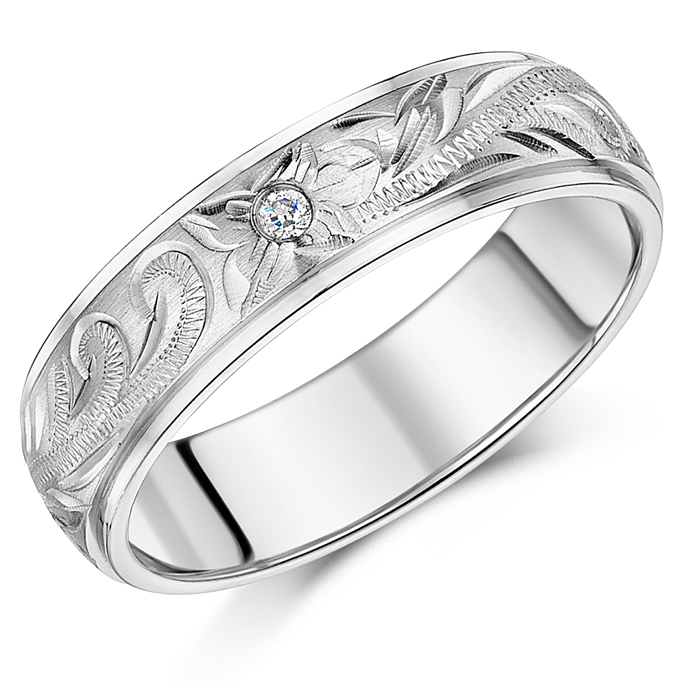 edges court ring flat rings with bands band center shape platinum wedding image bevel designed matt titanium