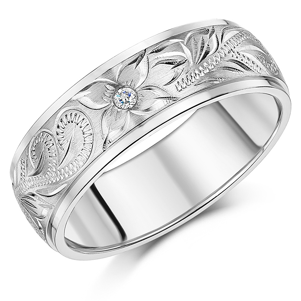 8mm Hand Engraved Flower Ring Titanium CZ Stone Wedding Band
