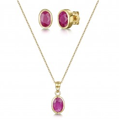 9ct Yellow Gold Ruby Rubover 18'' Chain Pendant & Stud Earrings Set