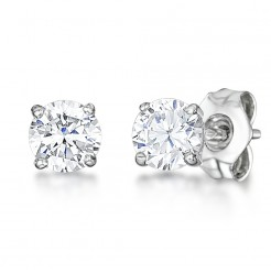 9ct White Gold Round Claw Set White Cz Stud Earrings 4mm