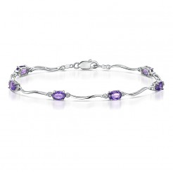 "Sterling Silver Oval Purple Amethyst Diamonds  7"" Wave Link Bracelet"