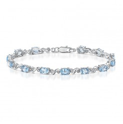 "Sterling Silver ""Swiss Blue Topaz"" & Diamond Twist Bracelet"