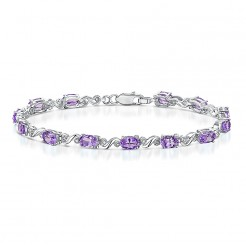 "Sterling Silver ""Amethyst"" & Diamond Twist Bracelet"