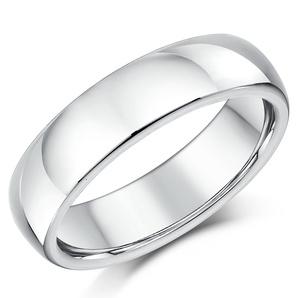 6mm Silver Super Heavy Weight Court Shape Wedding Ring