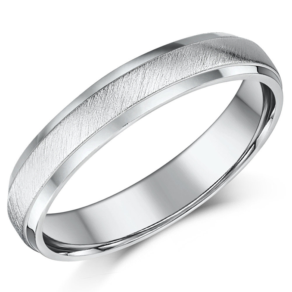 4mm Palladium Matt and Polished D shaped Wedding Ring Band