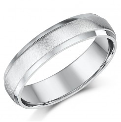 5mm Palladium Matt and Polished D shaped Wedding Ring Band