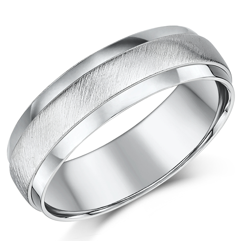 6mm Palladium Matt and Polished D shaped Wedding Ring Band