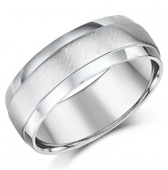 7mm Palladium Matt and Polished D shaped Wedding Ring Band