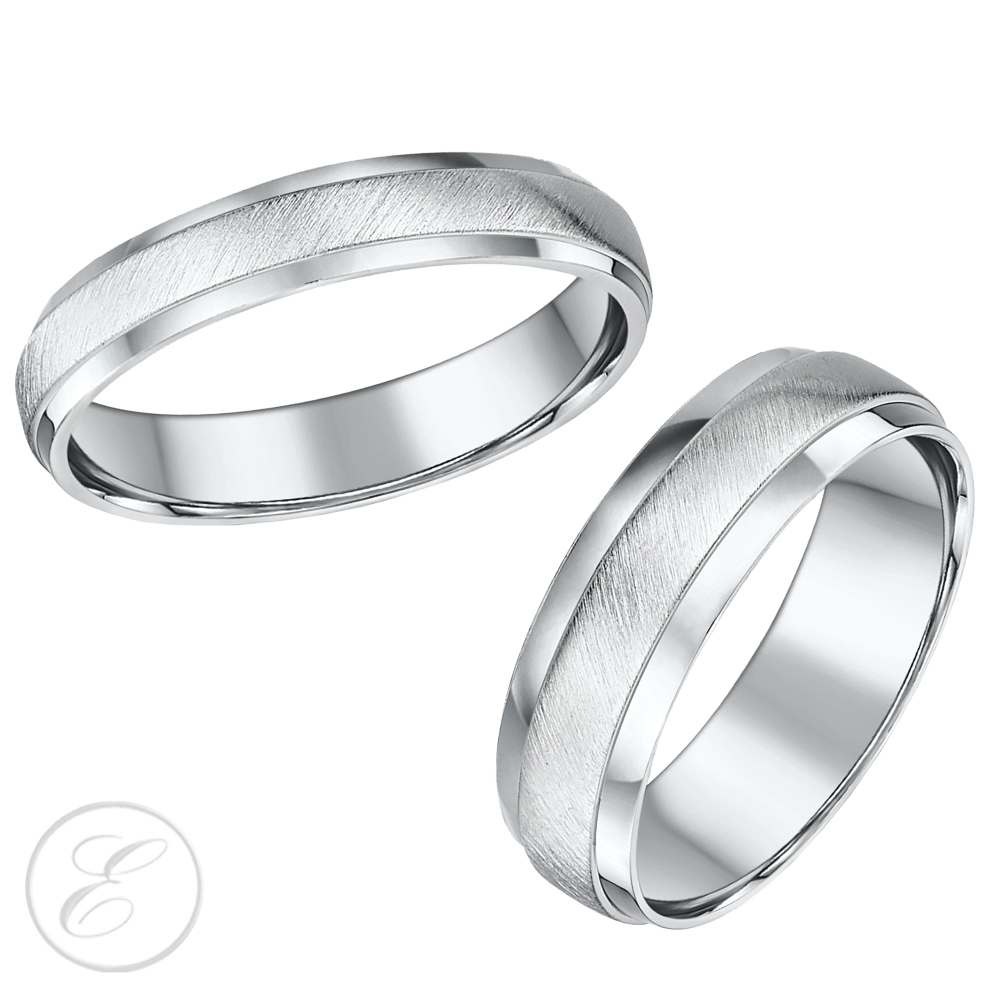 His Hers White Gold Wedding Rings Matching Sets For Groom and Bride