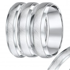 Heavy Weight D-Shape Palladium Matt and Polished Wedding Ring Band