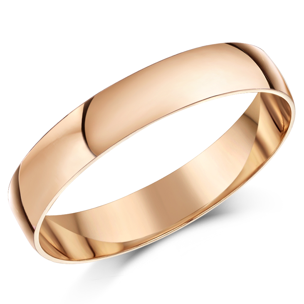 4mm 9ct Rose Gold Light Weight D Shaped Wedding Ring Band