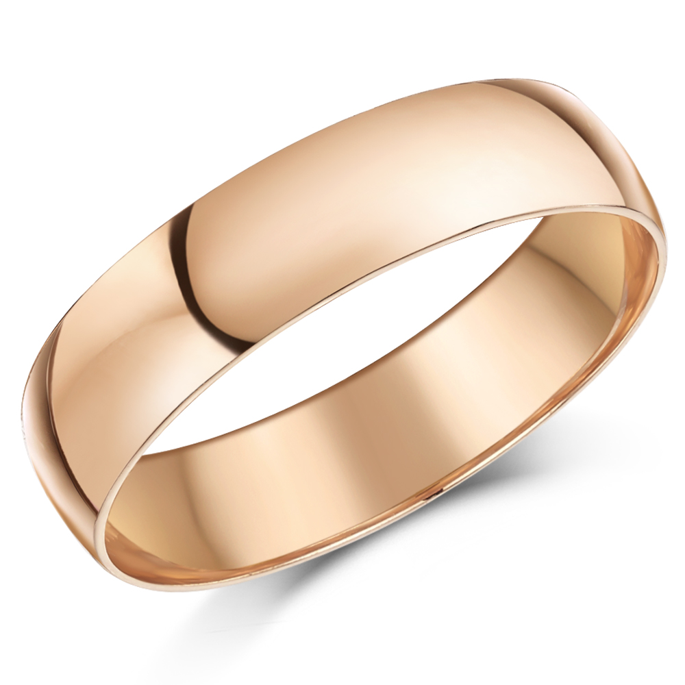 5mm 9ct Rose Gold Light Weight D Shaped Wedding Ring Band