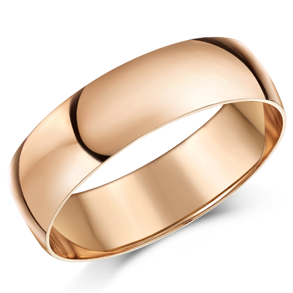 6mm 9ct Rose Gold Light Weight D Shaped Wedding Ring Band