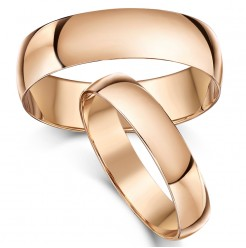 His & Hers 4&6mm 9ct Rose Gold D Shaped Wedding Ring Bands