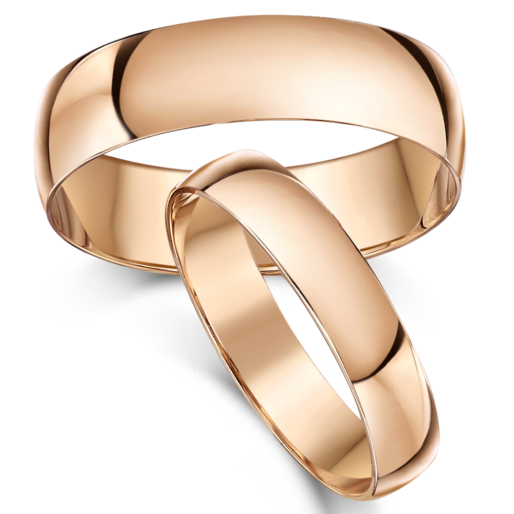 His Hers 46mm 9ct Rose Gold D Shaped Wedding Ring Bands Rose