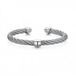 Stunning Stainless Steel Grey Cable Bangle Bracelet