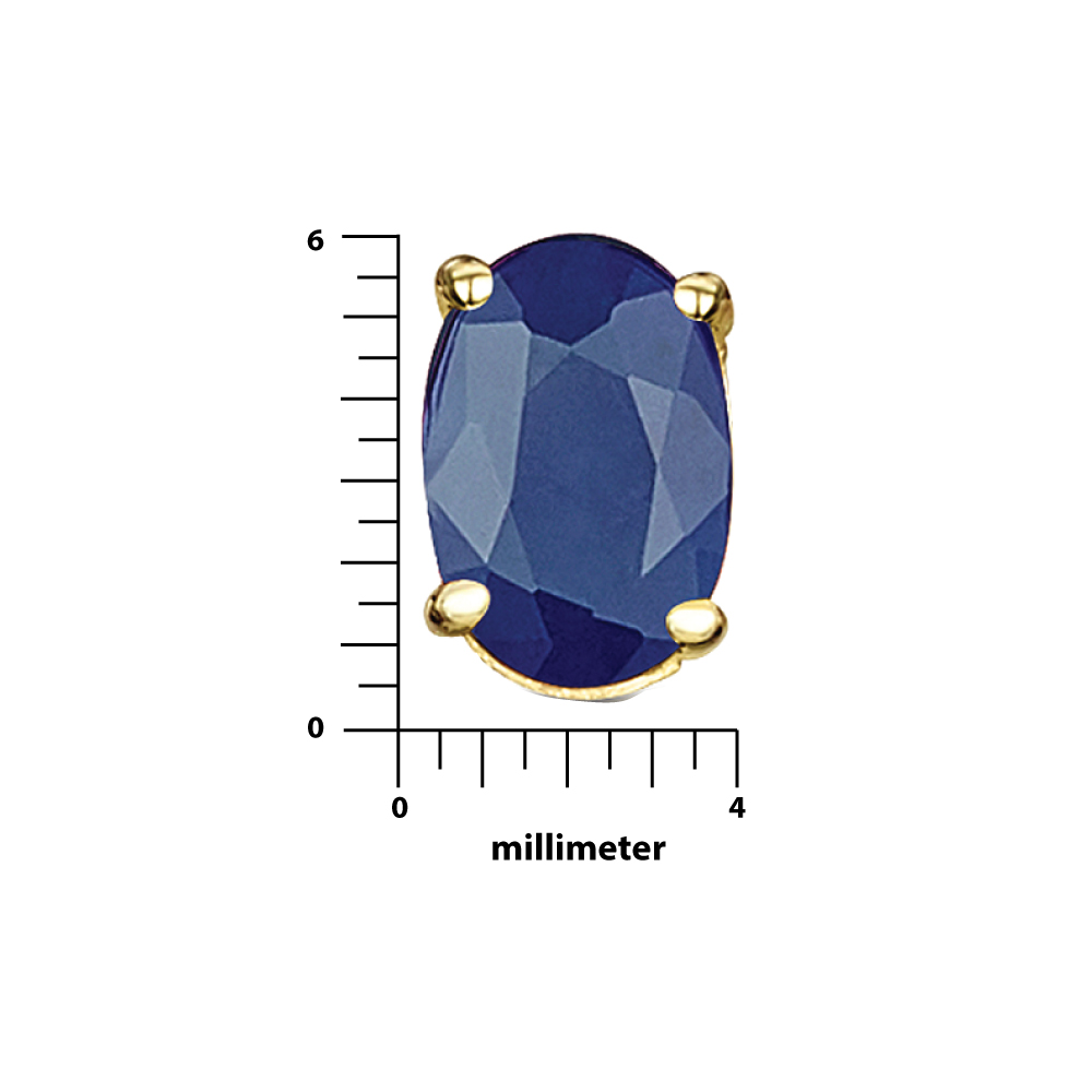 9ct Yellow Gold Blue Sapphire Claw Set Oval Stud Earrings