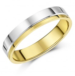 4mm 9ct Two Colour Gold Heavy Flat Court Wedding Ring Band