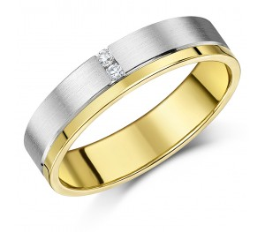 5mm Designer 9ct Gold Two Colour Diamond Wedding Ring