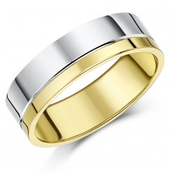 6mm 9ct Two Colour Gold Heavy Flat Court Wedding Ring Band