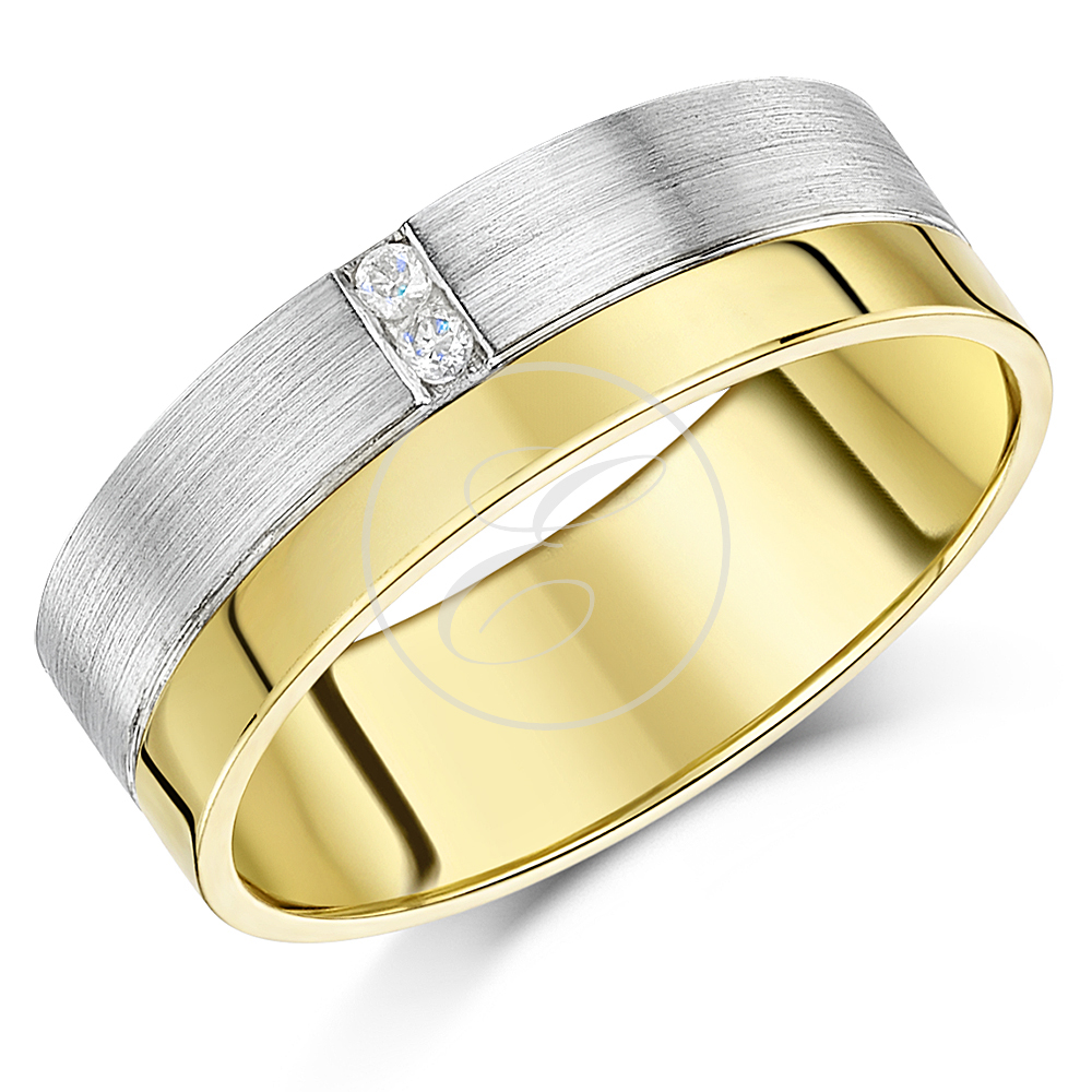 7mm Designer 9ct Gold Two Colour Diamond Wedding Ring