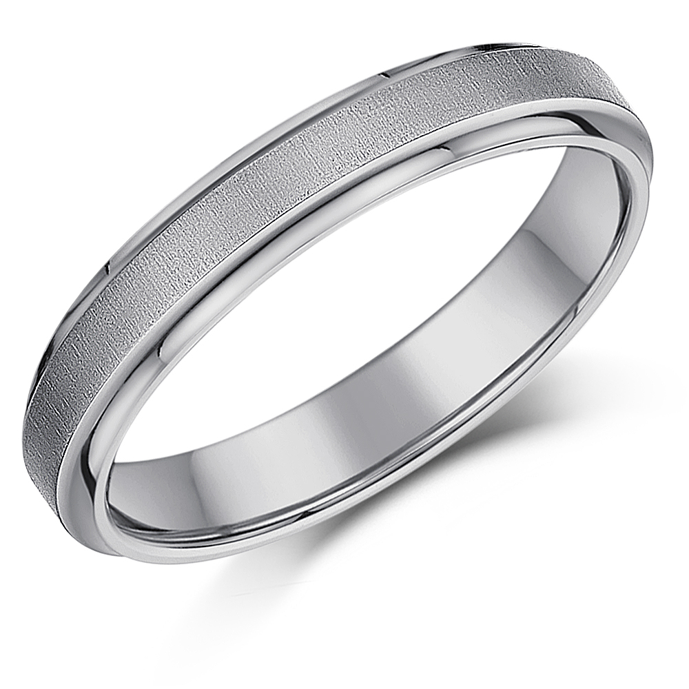 4mm Titanium Satin Centre Wedding Ring Band