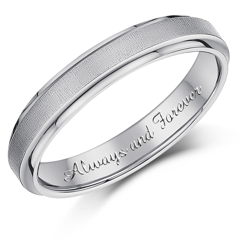 4mm 'Always and Forever' Engraved Titanium Matt & Polished Wedding Ring