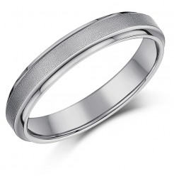 4mm Ladies Titanium Wedding Ring Band Satin Centre Band
