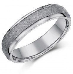 5mm Titanium Ring Satin Centre Wedding Band Matt & Polished