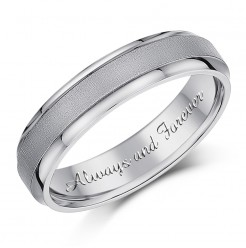 5mm 'Always and Forever' Titanium Ring Engagement Wedding Ring Engraved