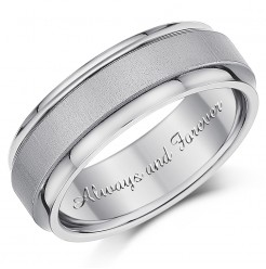 7mm Men's Titanium Ring 'Always and Forever' Engagement Wedding Ring