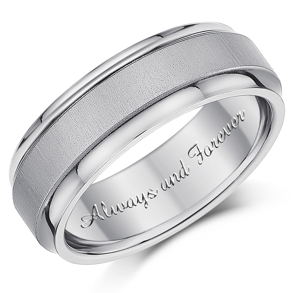 7mm Men\'s Titanium Ring \'Always and Forever\' Engagement Wedding Ring