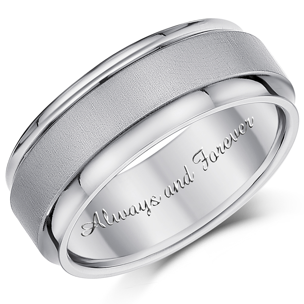 8mm 'Always and Forever' Engagement Ring Engraved Titanium Wedding Band