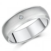 7mm Titanium Diamond Wedding Ring Band
