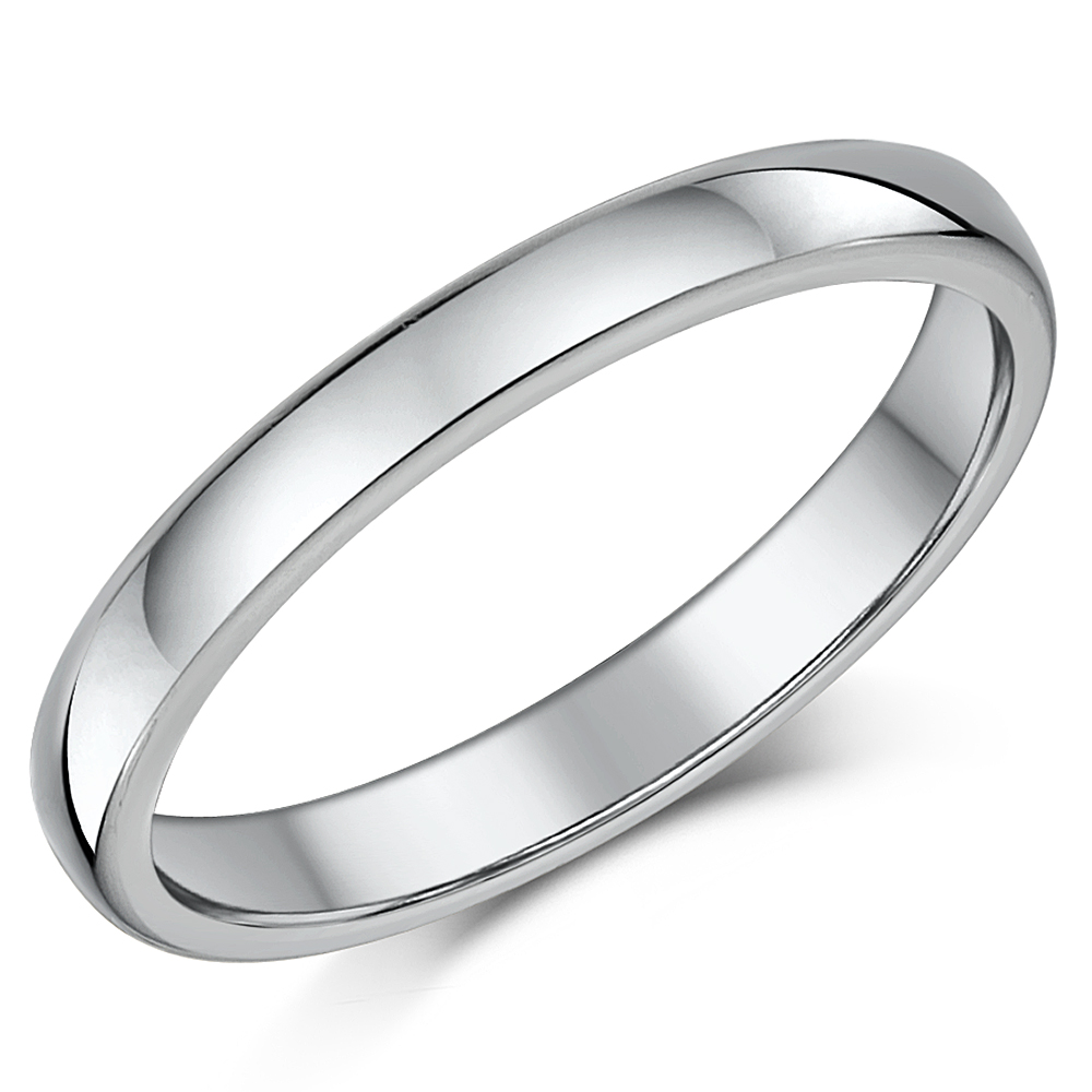 3mm Cobalt Wedding Ring Ladies Heavy Weight Court Comfort Polished Band