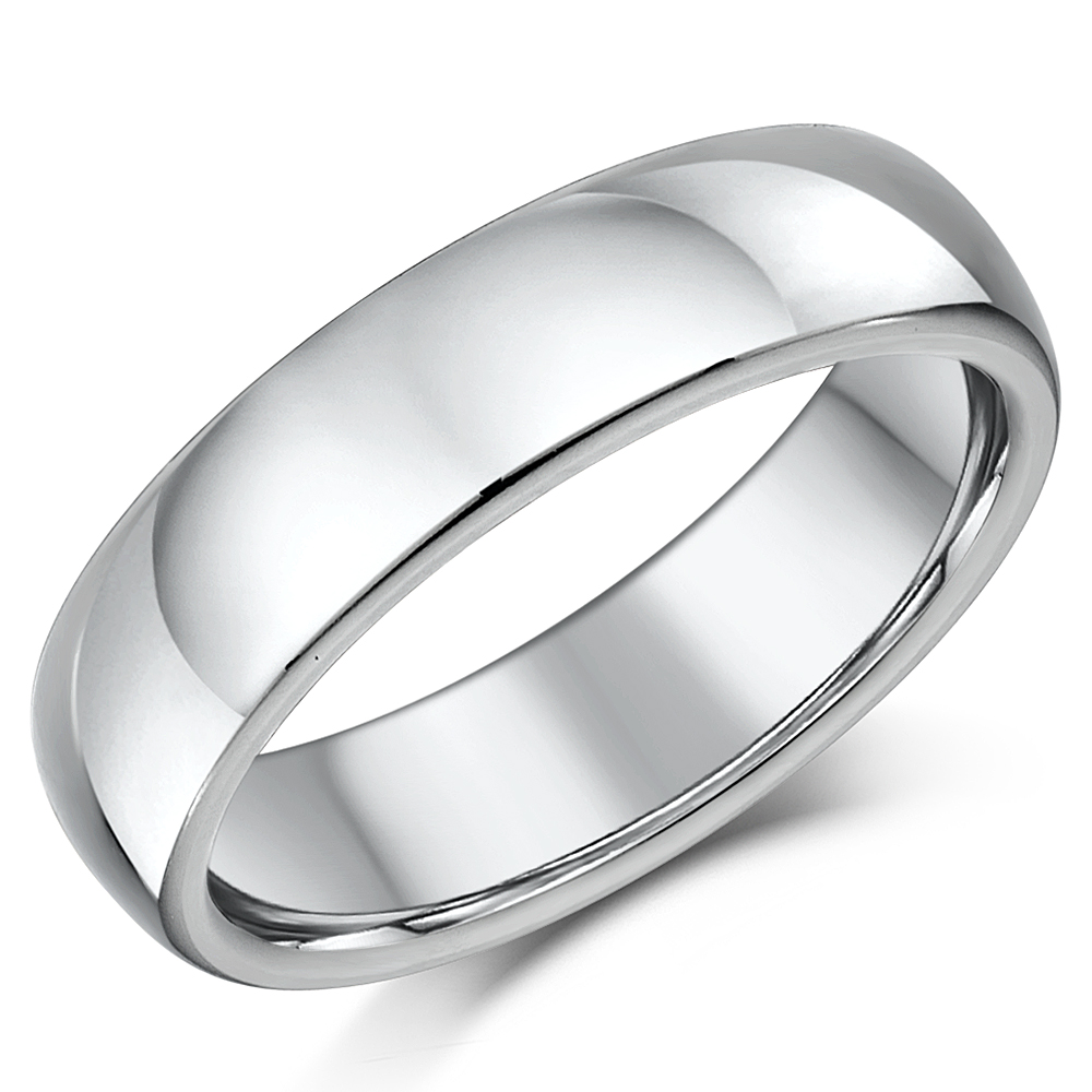 Titanium Court Shaped Wedding Ring 6mm