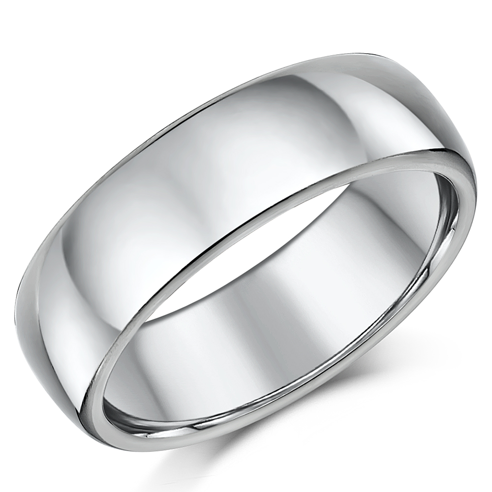 8mm Men's Cobalt Wedding Ring Court Polished Wedding Band Heavy Weight