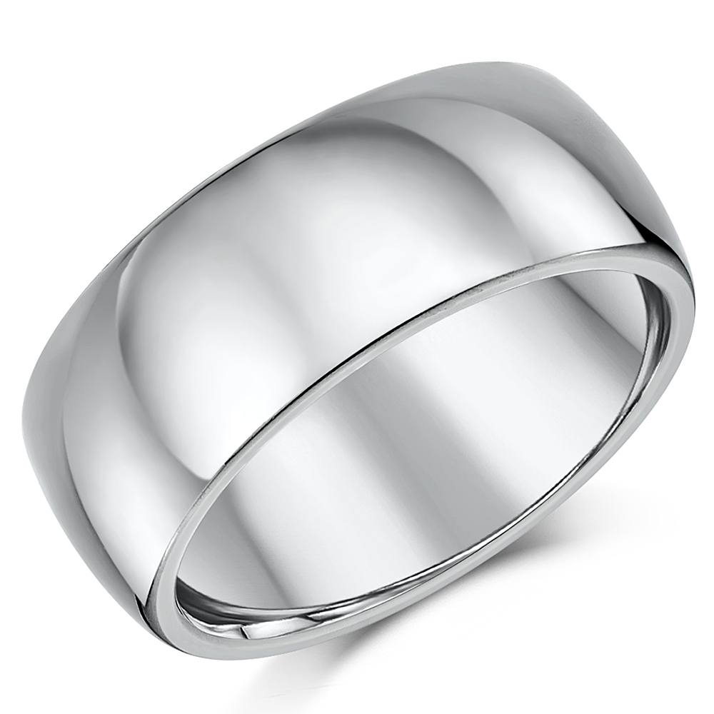 Titanium Court Shaped Wedding Ring 9mm