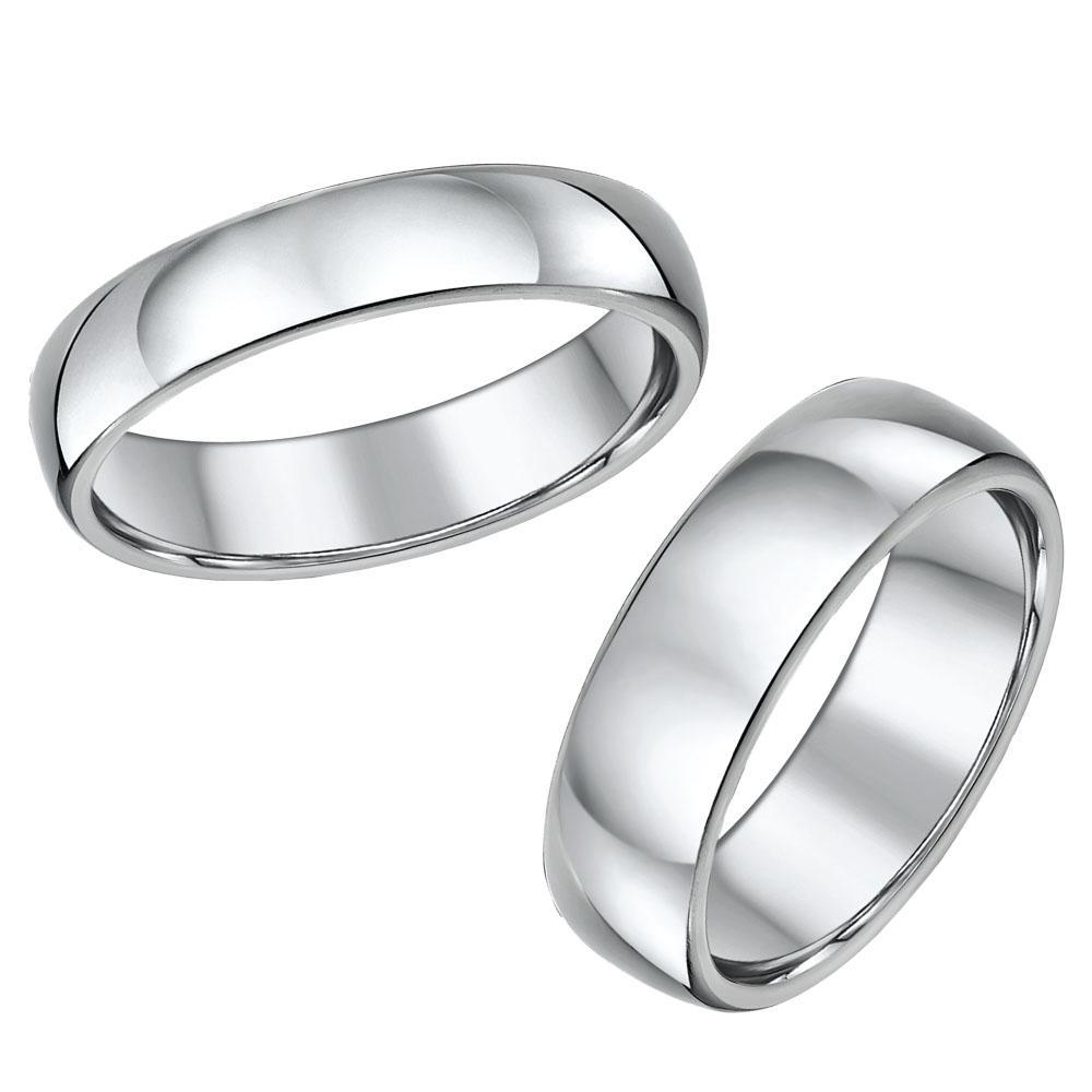 His & Hers Titanium Court Wedding Rings 5&7mm