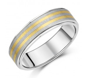 7mm Titanium & Gold Double Inlaid Bevelled Edges Wedding Ring
