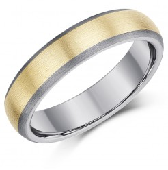 5mm Titanium & Gold Inlaid Wedding Ring Band