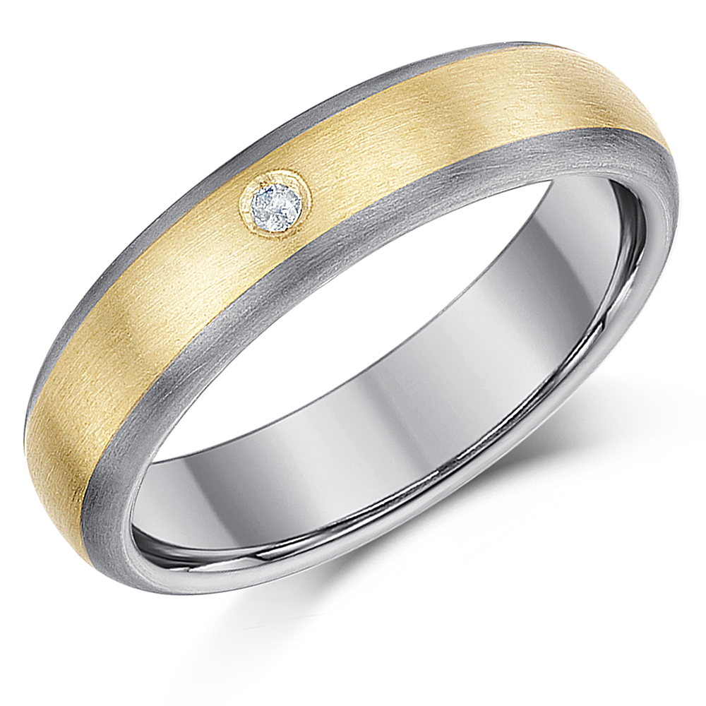 5mm Titanium & 9ct Gold 0.02ct Diamond Engagement Wedding Ring